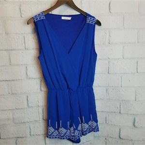 Entro Blue Sleeveless Embroidered Romper Size Sm